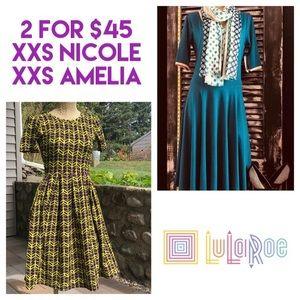 XXS BUNLE! LuLaRoe Amelia & Nicole Dresses
